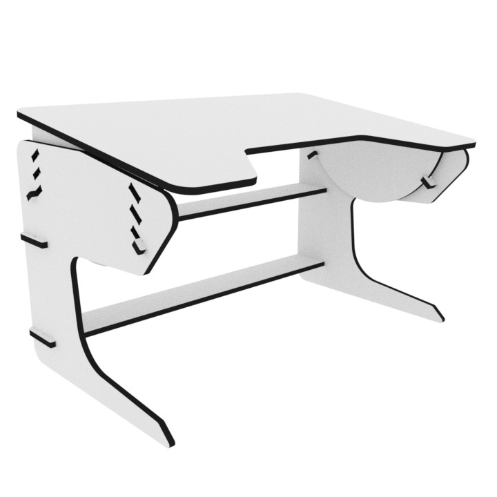 White playDesk gaming desk with white background