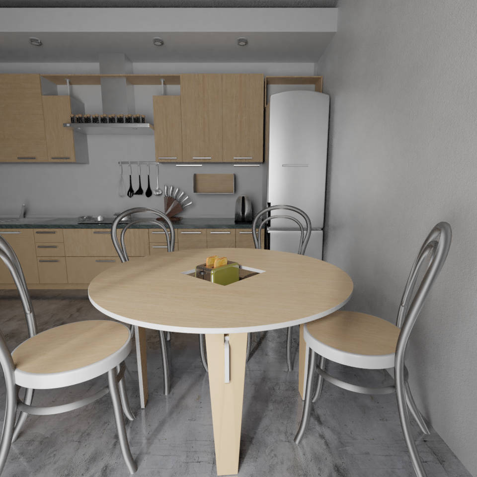 Oak kitchen with a round handy table