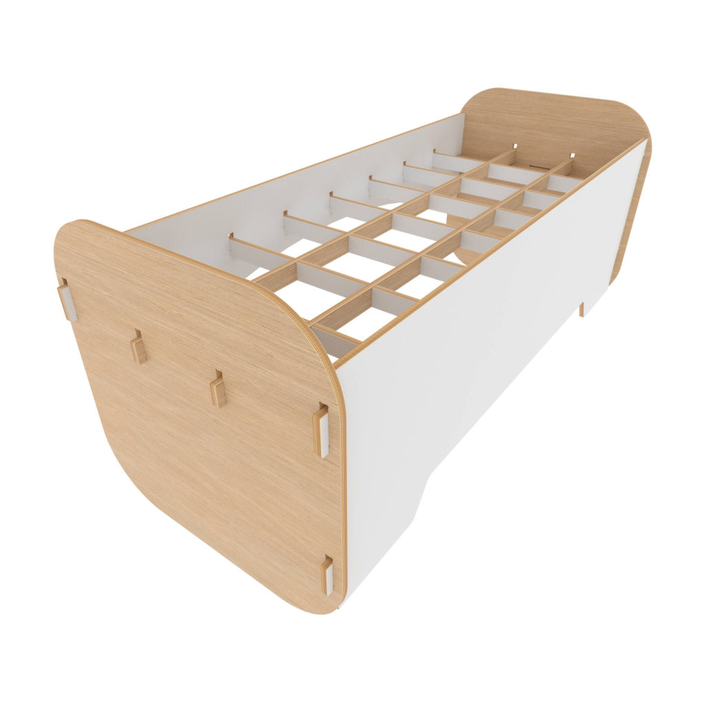 Bed with desk - White and Oak - Bed mode