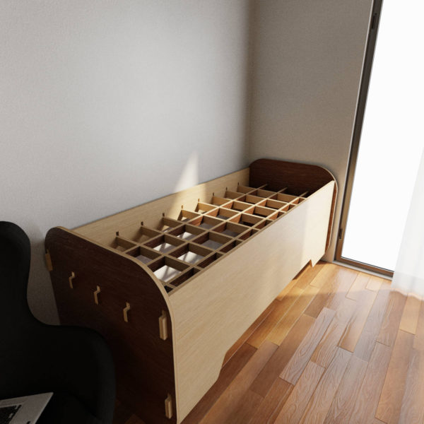 Bed with desk - Dark wood and Oak - Bed mode