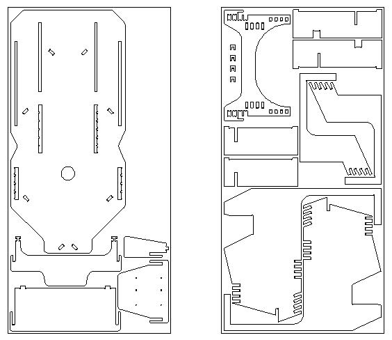 Scheme of the CNC racing simulator nesting